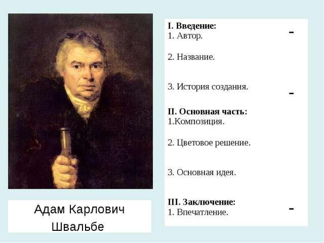 Адам Карлович Швальбе I. Введение: 1. Автор. - 2. Название.  3. История соз...