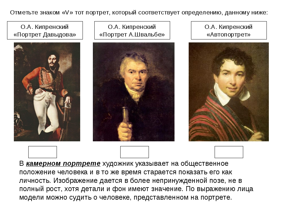 Отметьте знаком «V» тот портрет, который соответствует определению, данному н...