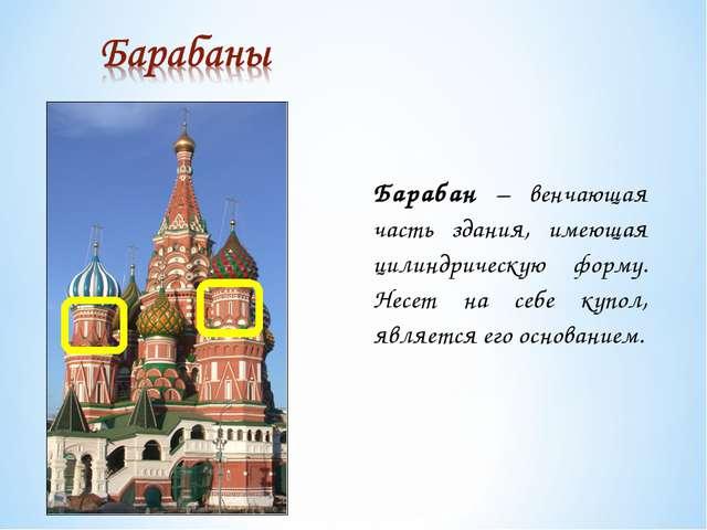 Барабан – венчающая часть здания, имеющая цилиндрическую форму. Несет на себе...