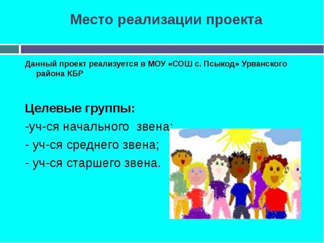 Место реализации проекта Данный проект реализуется в МОУ «СОШ с. Псыкод» Урва...
