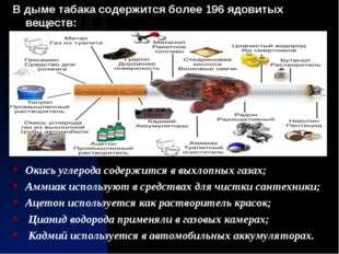 Задача 1 В дыме табака содержится более 196 ядовитых веществ: Окись углерода
