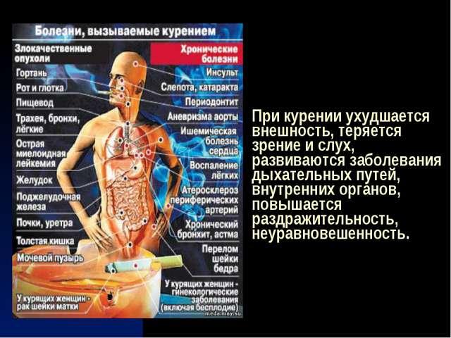 При курении ухудшается внешность, теряется зрение и слух, развиваются заболев...