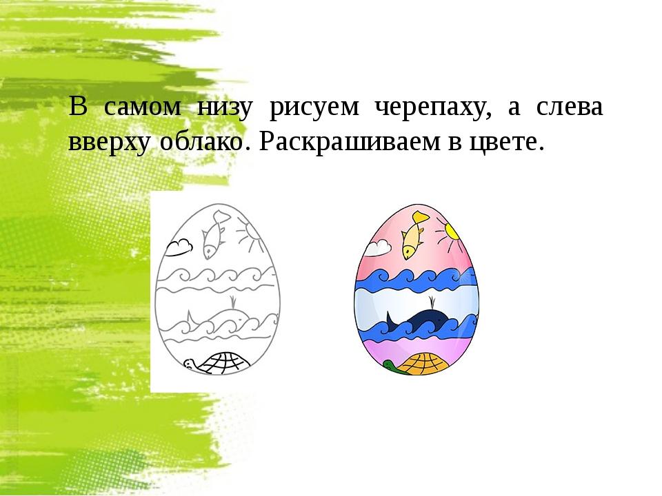 В самом низу рисуем черепаху, а слева вверху облако. Раскрашиваем в цвете.
