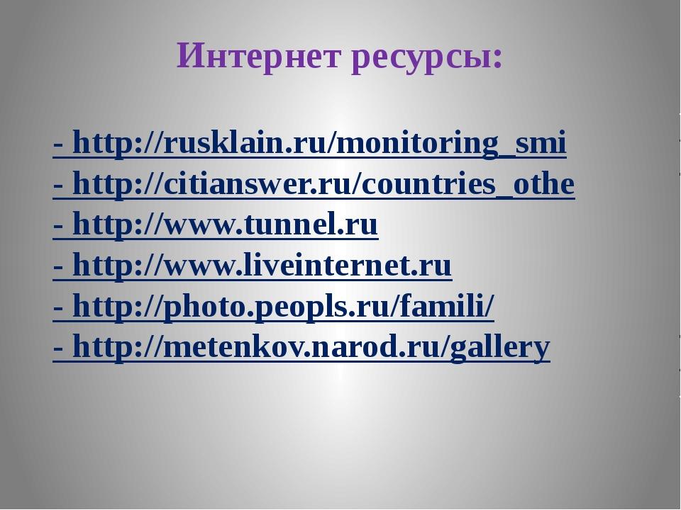 Интернет ресурсы: - http://rusklain.ru/monitoring_smi - http://citianswer.ru/...