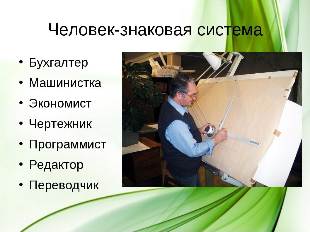 Бухгалтер Бухгалтер Машинистка Экономист Чертежник Программист Редактор...