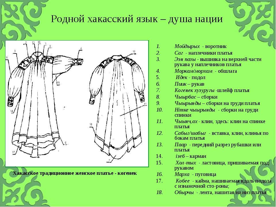 Хакасское традиционное женское платье - когенек Мойдырых - воротник Саг - нап...