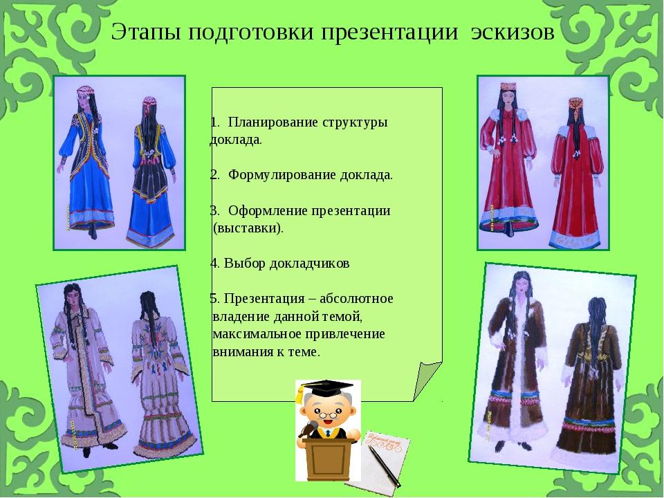 Этапы подготовки презентации эскизов 1. Планирование структуры доклада. 2. Фо...