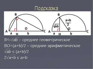 Подсказка BH=√ab – среднее геометрическое BO=(a+b)/2 – среднее арифметическое