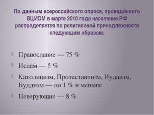 По данным всероссийского опроса, проведённого ВЦИОМ в марте 2010 года населен