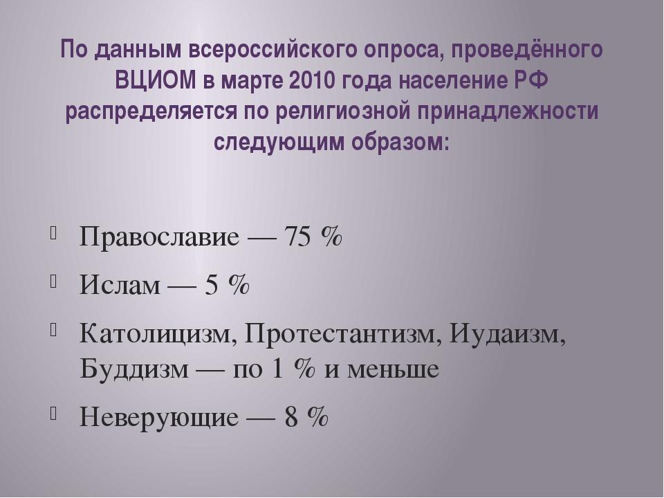 По данным всероссийского опроса, проведённого ВЦИОМ в марте 2010 года населен...