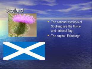 Scotland The national symbols of Scotland are the thistle and national flag T
