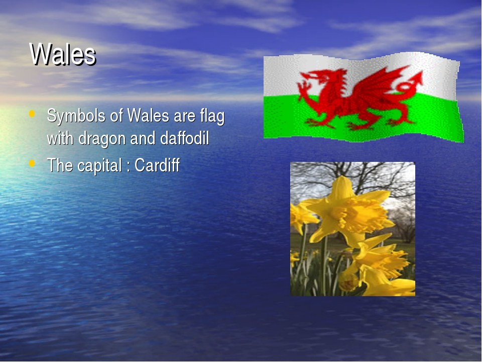 Wales Symbols of Wales are flag with dragon and daffodil The capital : Cardiff