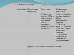 5. Заполните таблицу: Цель урока Планируемые результаты Цель урока Планируем