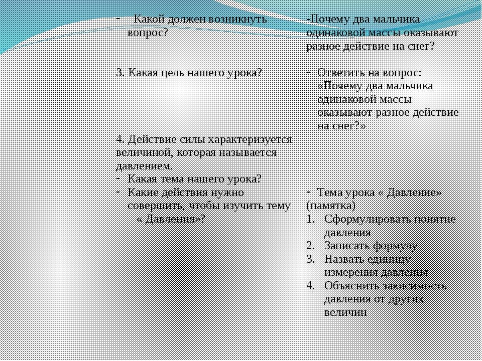 Какой должен возникнуть вопрос? 3. Какая цель нашего урока? 4. Действие силы...