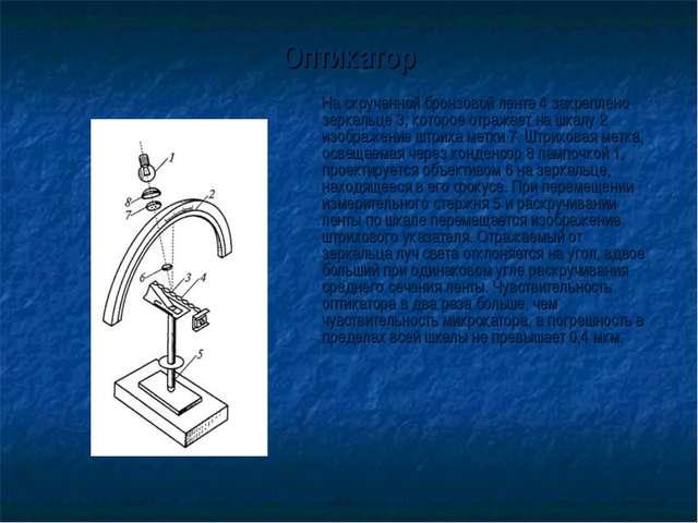 Оптикатор На скрученной бронзовой ленте 4 закреплено зеркальце 3, которое от...