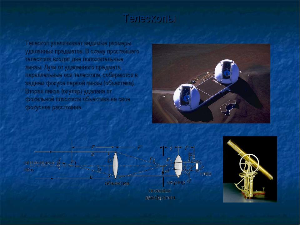 Телескопы Телескоп увеличивает видимые размеры удаленных предметов. В схему...