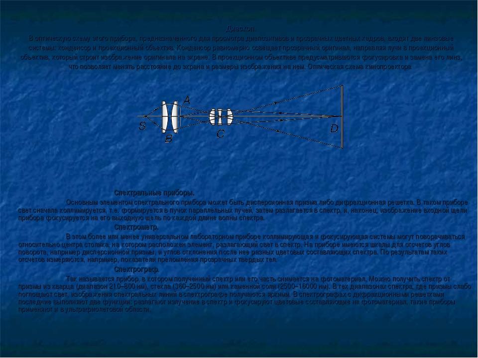 Диаскоп. В оптическую схему этого прибора, предназначенного для просмотра диа...