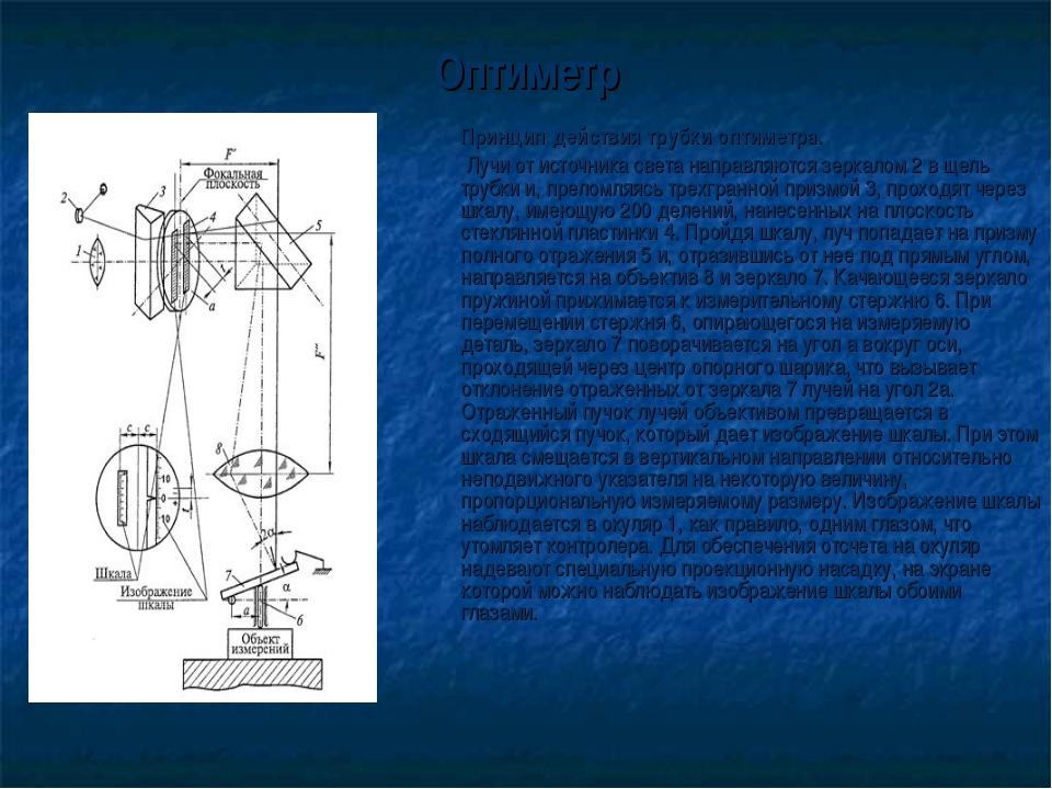 Оптиметр Принцип действия трубки оптиметра.  Лучи от источника света направ...