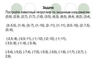 Задача Постройте известный петроглиф по заданным координатам: (0;9), (2;9), (