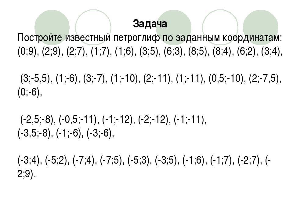 Задача Постройте известный петроглиф по заданным координатам: (0;9), (2;9), (...