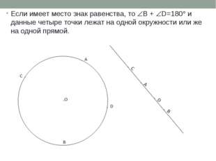 Если имеет место знак равенства, то B + D=180 и данные четыре точки лежат