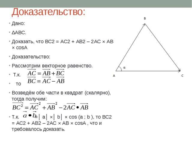 Доказательство: Дано: ∆АВС. Доказать, что ВС2 = АС2 + АВ2 – 2АС × АВ × cosA Д...