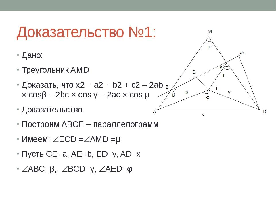 Доказательство №1: Дано: Треугольник AMD Доказать, что x2 = a2 + b2 + c2 – 2a...
