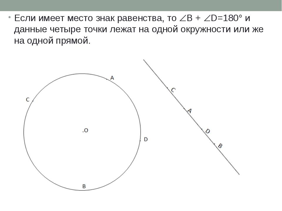Если имеет место знак равенства, то B + D=180 и данные четыре точки лежат...