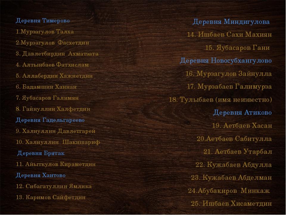 Деревня Тимерово 1.Мурзагулов Талха 2.Мурзагулов Фасхетдин 3. Давлетбирдин Ах...