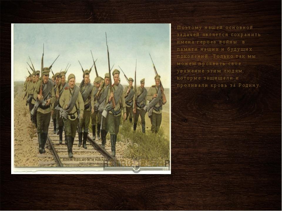 Поэтому нашей основной задачей является сохранить имена героев войны в памяти...