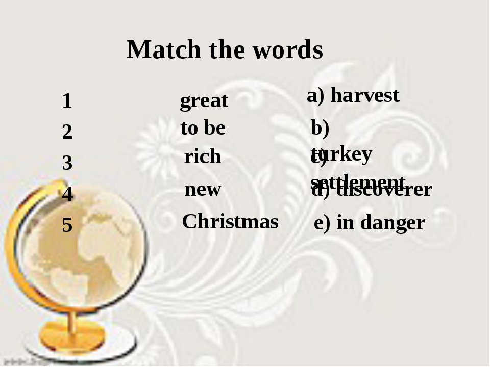 Match the words great to be rich new Christmas a) harvest b) turkey c) settle...