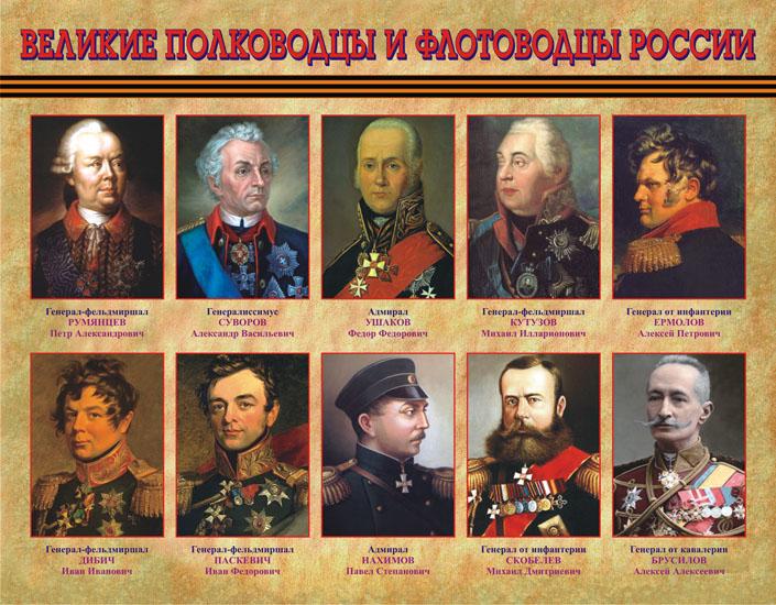 СТЕНДЫ ПО ИСТОРИИ / Великие полководцы и флотоводцы России