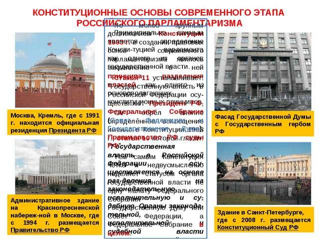 КОНСТИТУЦИОННЫЕ ОСНОВЫ СОВРЕМЕННОГО ЭТАПА РОССИЙСКОГО ПАРЛАМЕНТАРИЗМА Москва,...