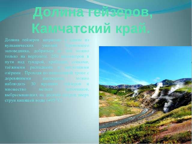 Долина гейзеров, Камчатский край. Долина гейзеров запрятана в одном из вулкан...
