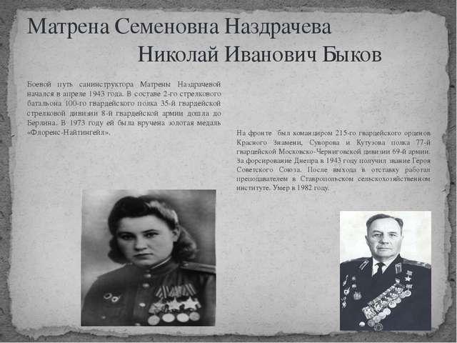 Матрена Семеновна Наздрачева Николай Иванович Быков Боевой путь санинструктор...