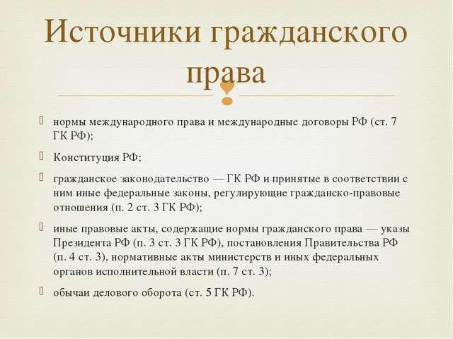 нормы международного права и международные договоры РФ (ст. 7 ГК РФ); Констит...
