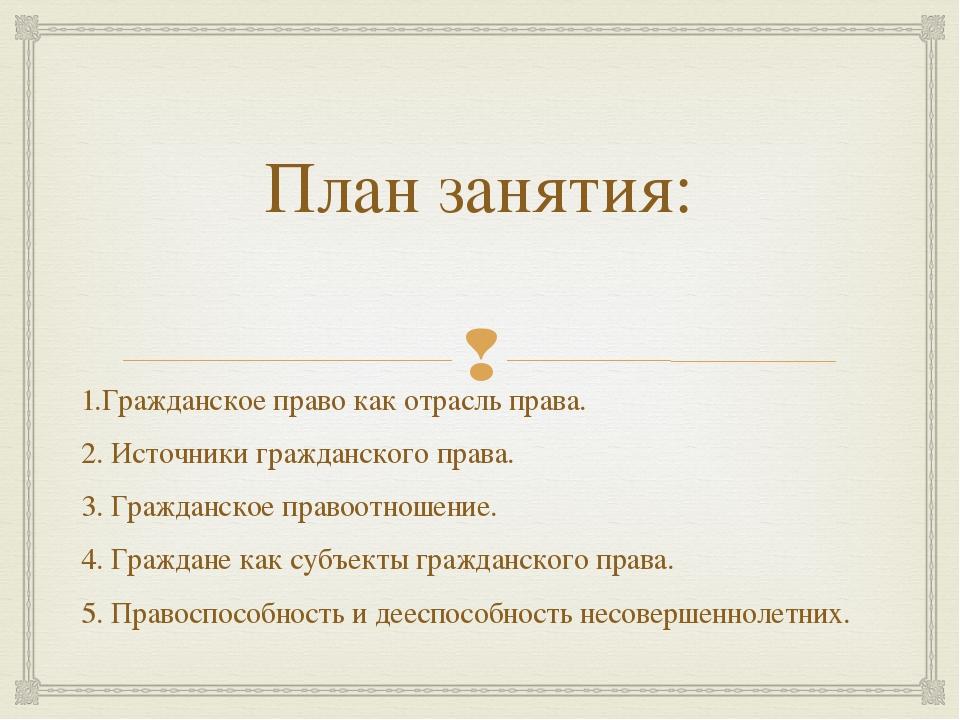 План занятия: 1.Гражданское право как отрасль права. 2. Источники гражданског...