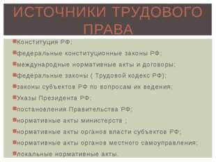 Конституция РФ; федеральные конституционные законы РФ; международные норматив