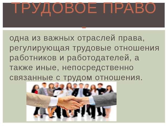 одна из важных отраслей права, регулирующая трудовые отношения работников и р...