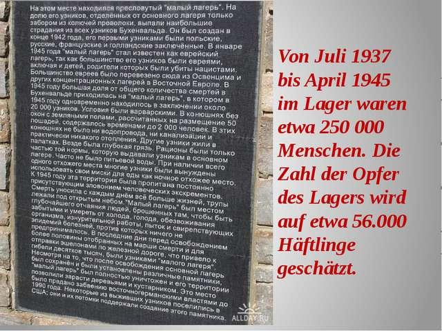 Von Juli 1937 bis April 1945 im Lager waren etwa 250 000 Menschen. Die Zahl d...