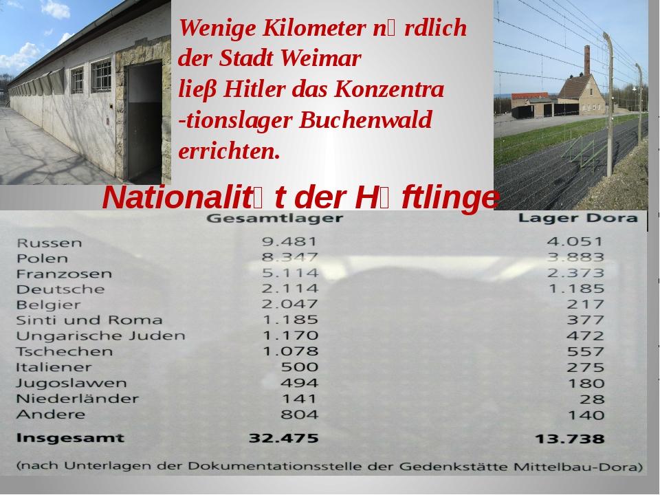 Nationalitӓt der Hӓftlinge Wenige Kilometer nӧrdlich der Stadt Weimar lieβ Hi...