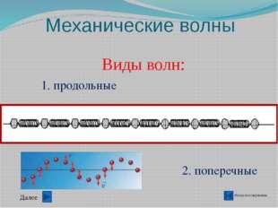 Механические волны Назад в содержание Основное свойство волны- перенос энерги