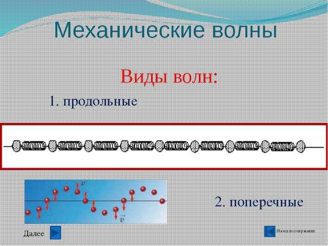 Механические волны Назад в содержание Основное свойство волны- перенос энерги...