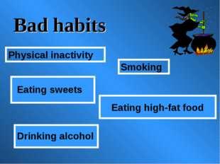 Bad habits Eating high-fat food Smoking Physical inactivity Eating sweets Dri