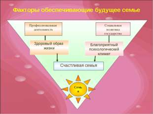 Факторы обеспечивающие будущее семье Семья Профессиональная деятельность Соци