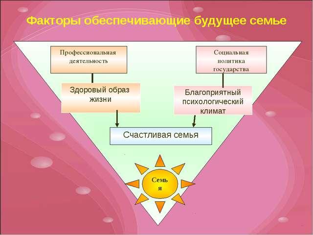 Факторы обеспечивающие будущее семье Семья Профессиональная деятельность Соци...