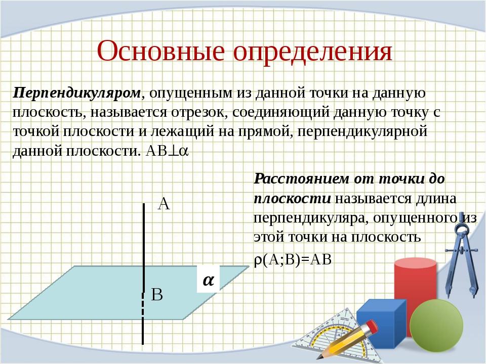 Основные определения Перпендикуляром, опущенным из данной точки на данную пло...