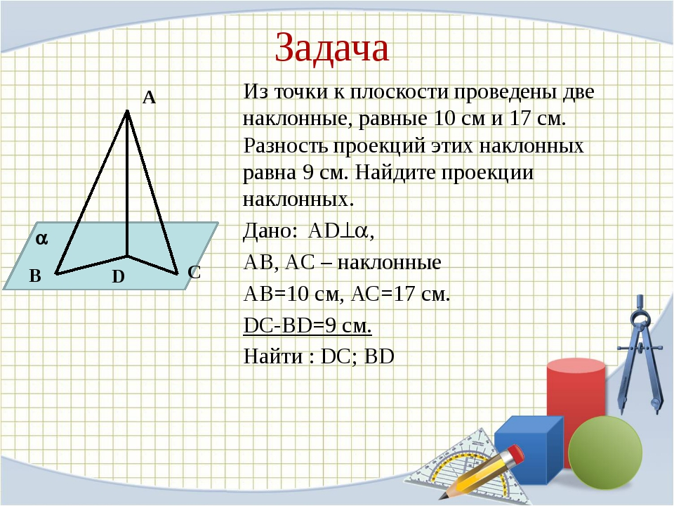 Из точки к плоскости проведены две наклонные, равные 10 см и 17 см. Разность...