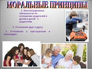 1. Конституционные обязанности по отношению родителей к детям и детей к родит