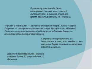 Всего по произведениям Пушкина создано более 20 опер и более 10 балетов.
